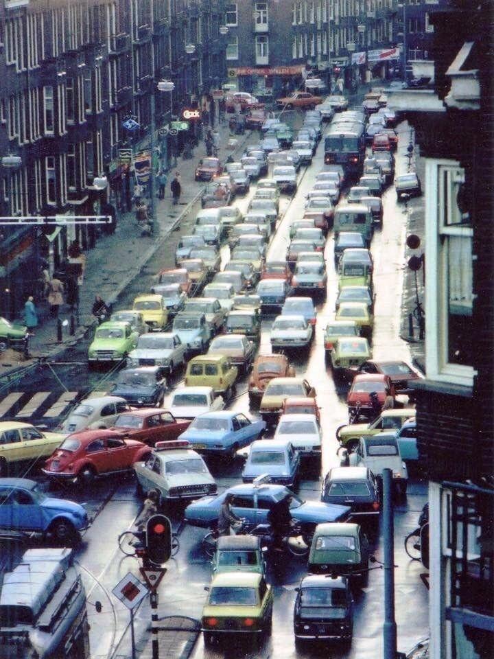 Traffic Gridlock in 1970s Amsterdam (Zeilstraat, Amsterdam 1970s)