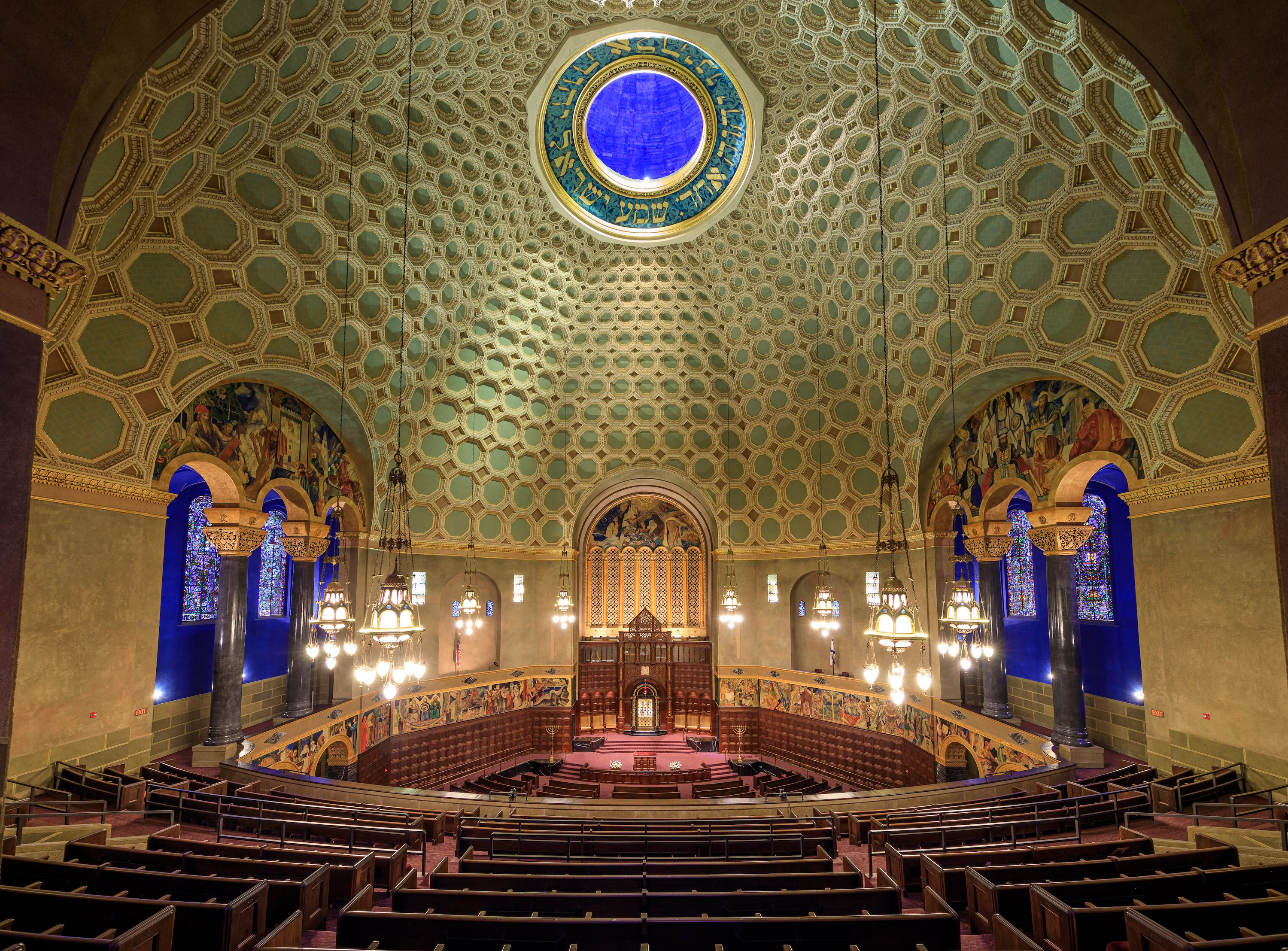 Boulevard Temple interior dome: Wilshire Boulevard Temple's restored and stabilized Byzantine Revival-style coffered dome ceiling, the centerpiece of a $150 million rehabilitation and a congregation's recommitment to its historic urban neighborhood.