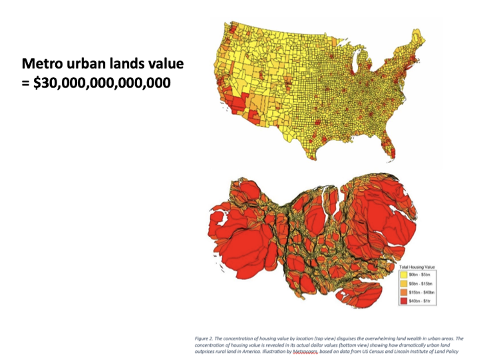 Map of US Metro Urban Land Value Inflation