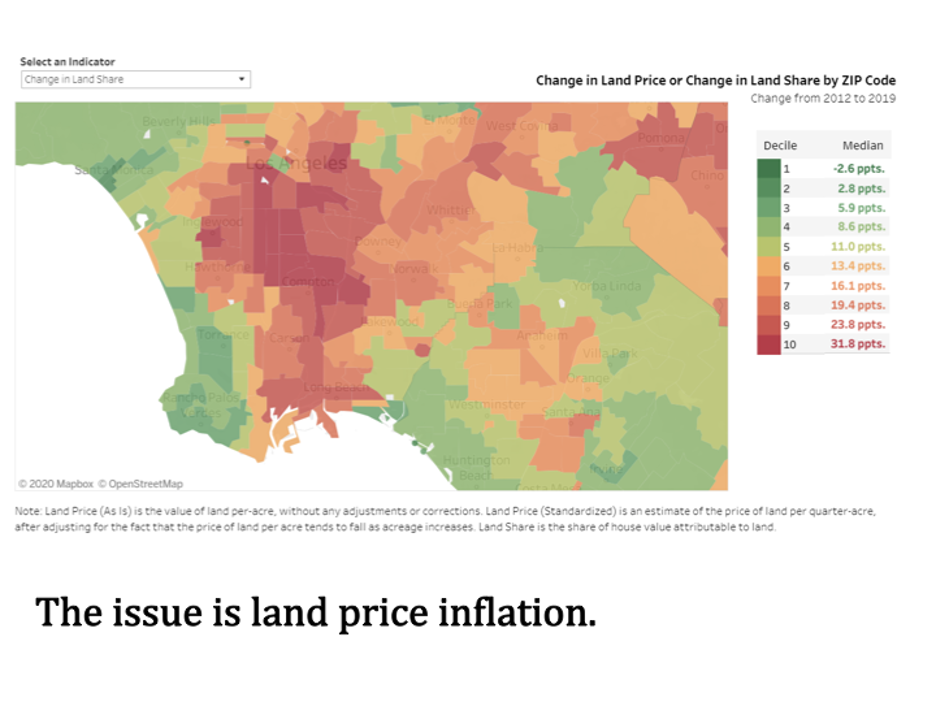 Map of Land Price Inflation in Los Angeles